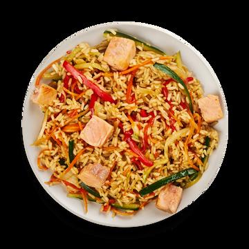 Рис по-тайски с лососем и овощами