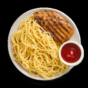 Куриное филе со спагетти